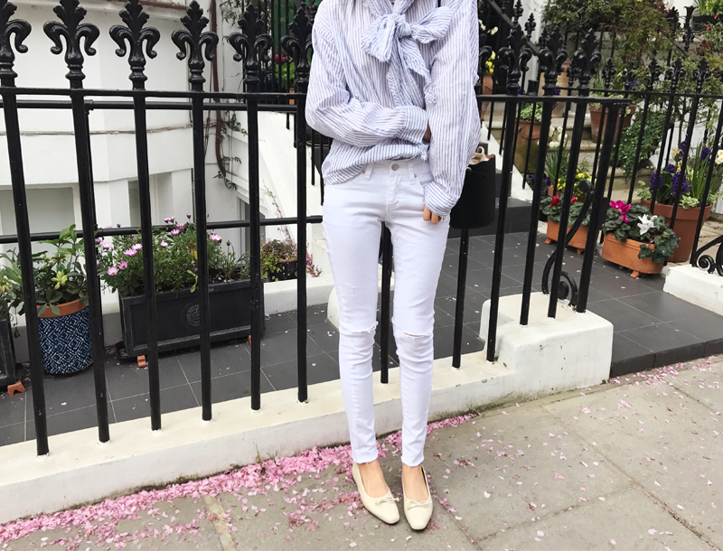Spring cutting jeans / white