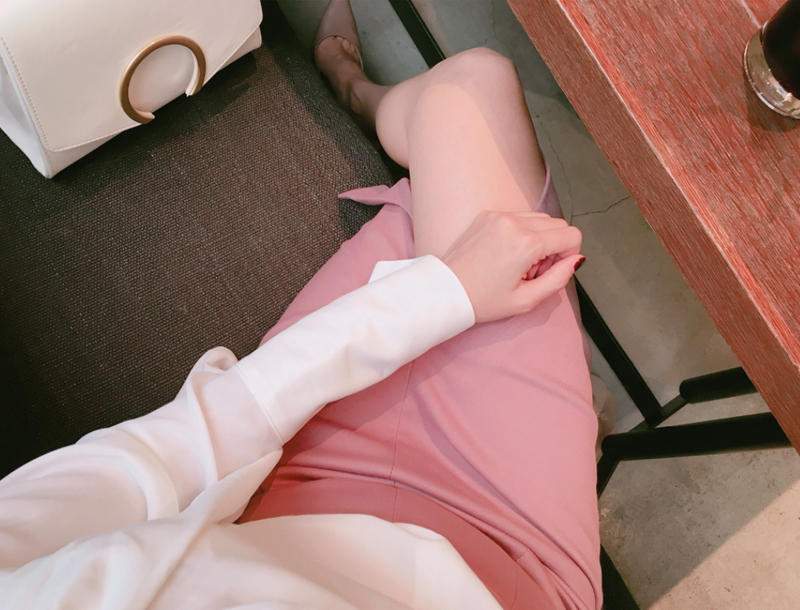 Slit pencil skirt / dusty pink