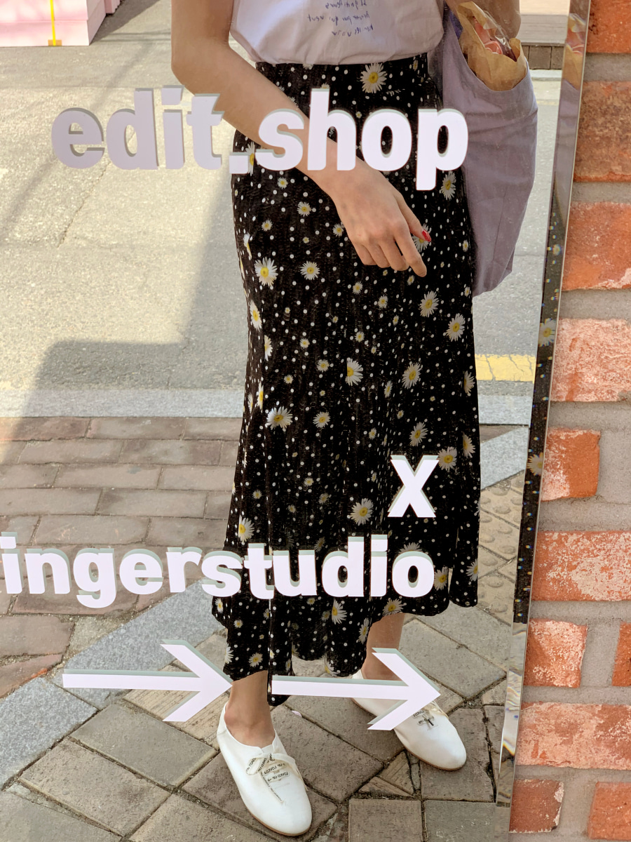 Flower mermaid skirt [Black]