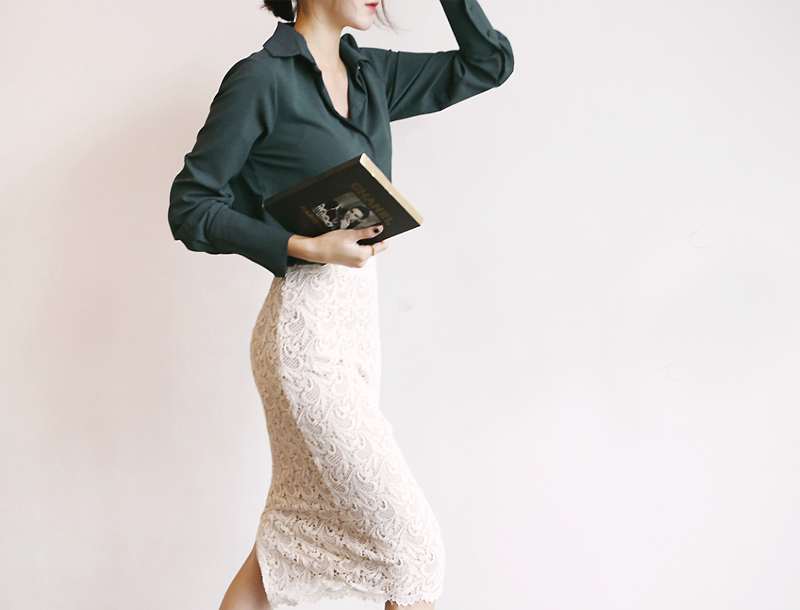 Lace skirt / ivory