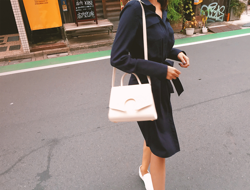 Two pocket blouse dress / navy