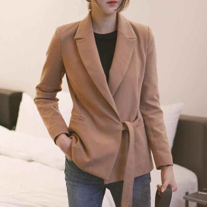 [공구] Ribbon tailored jacket / camel