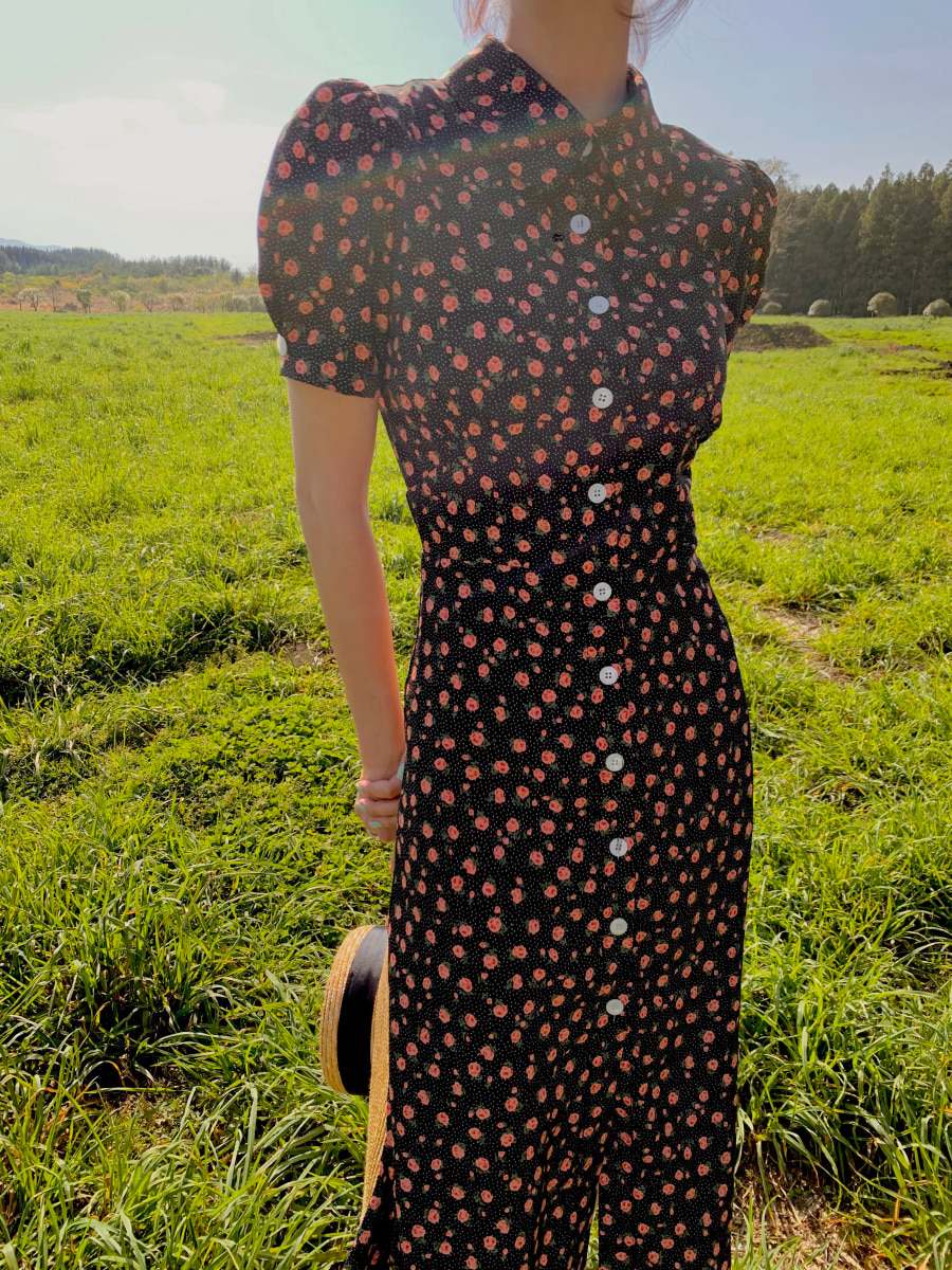 [Pre-order] Adelaide floral dress [Black]