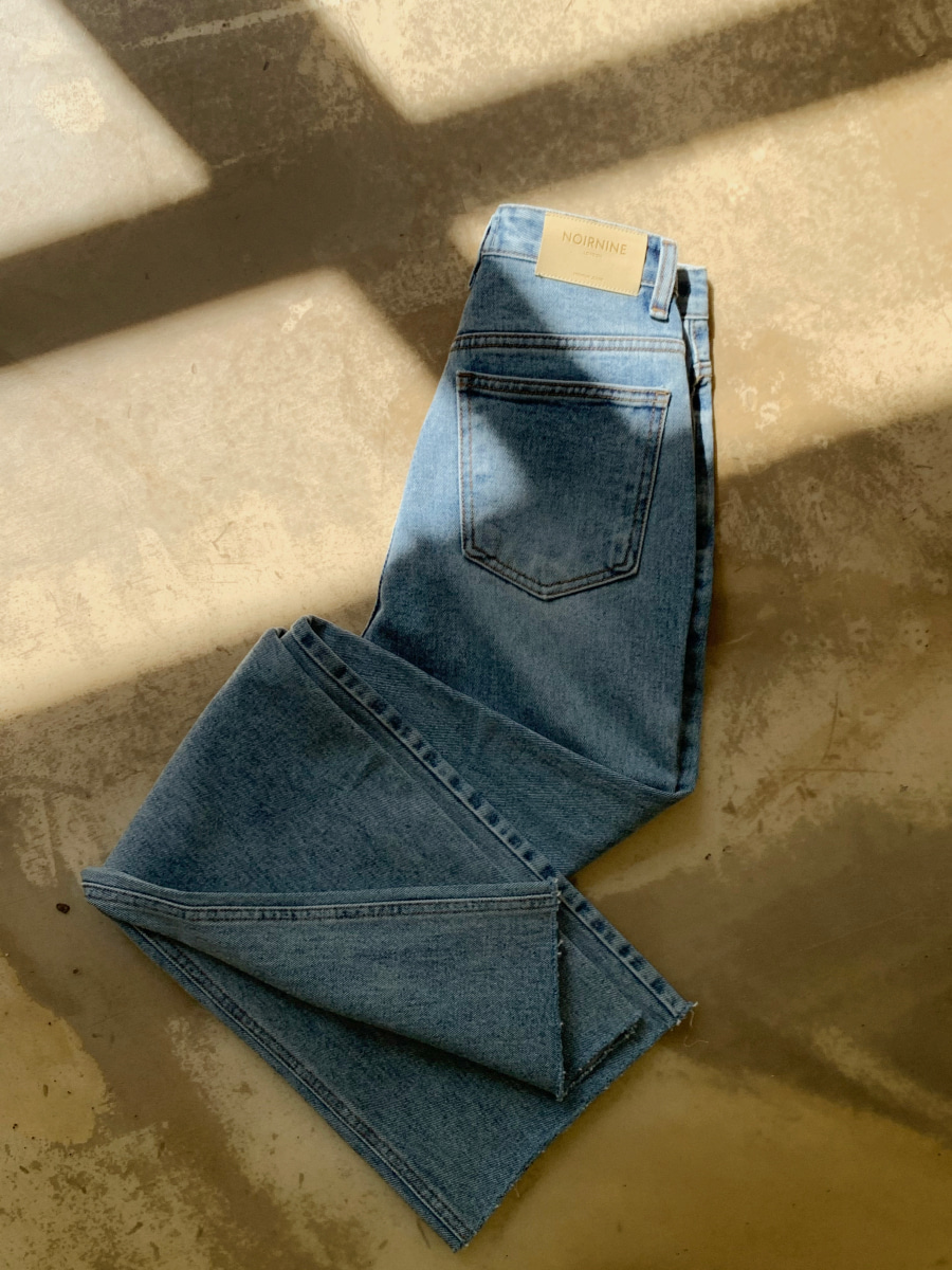 [Pre-order] High waist vintage denim pants [Deep blue]