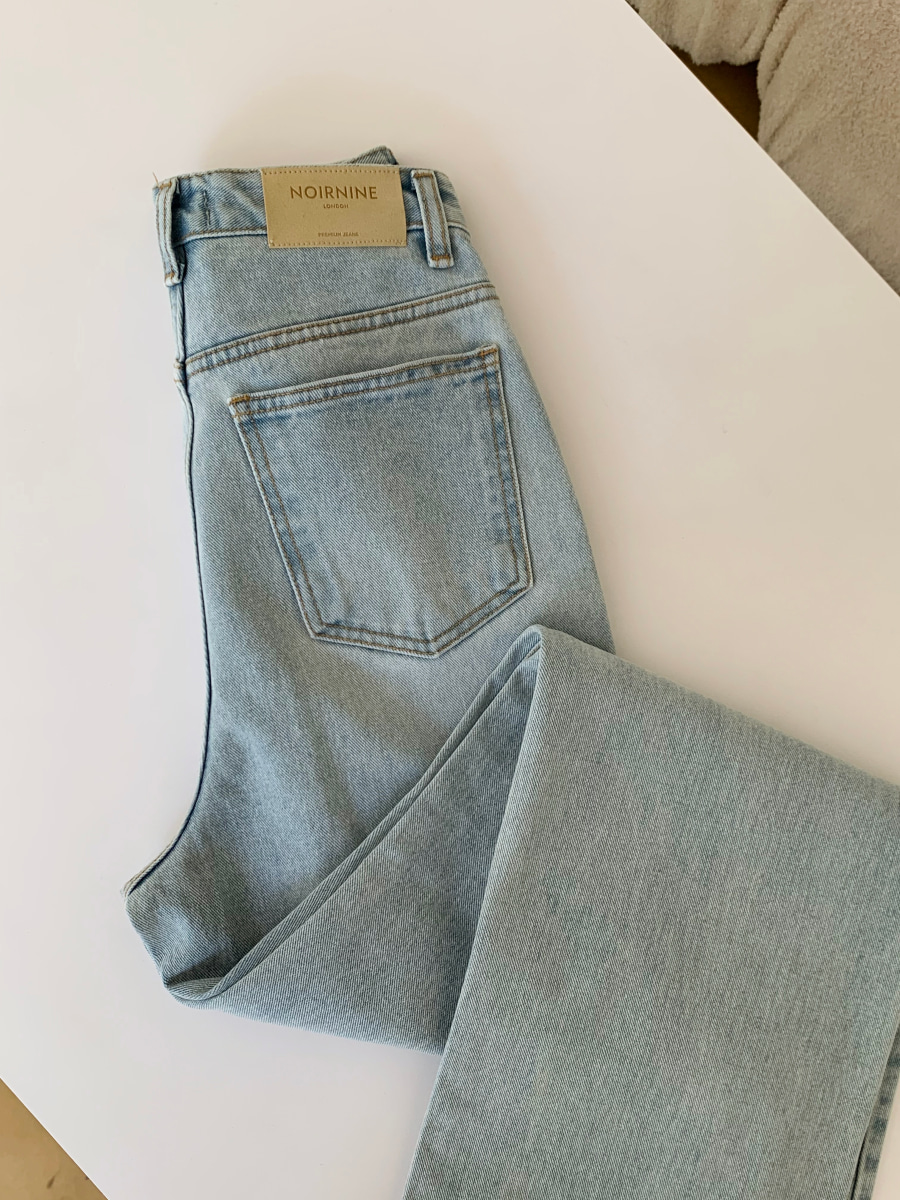 [Pre-order] High waist vintage denim pants [Light blue]