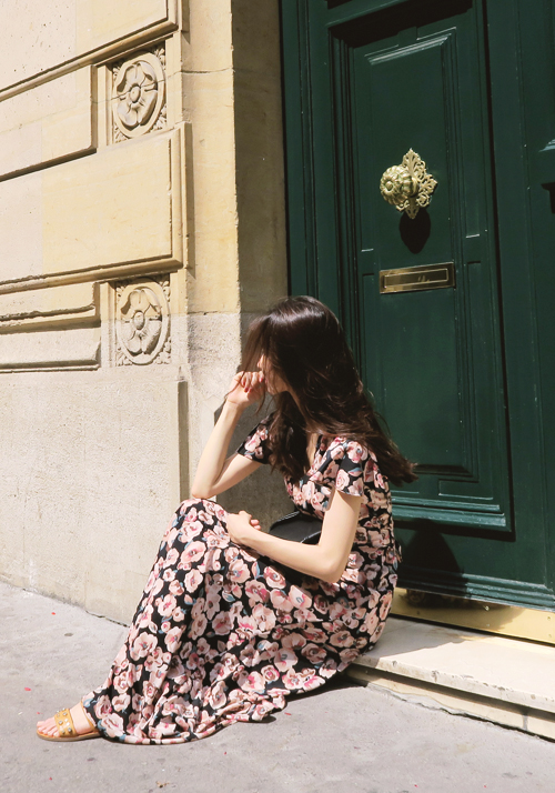 Floral pansy maxi dress / black