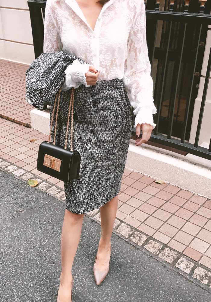 Formal tweed skirt