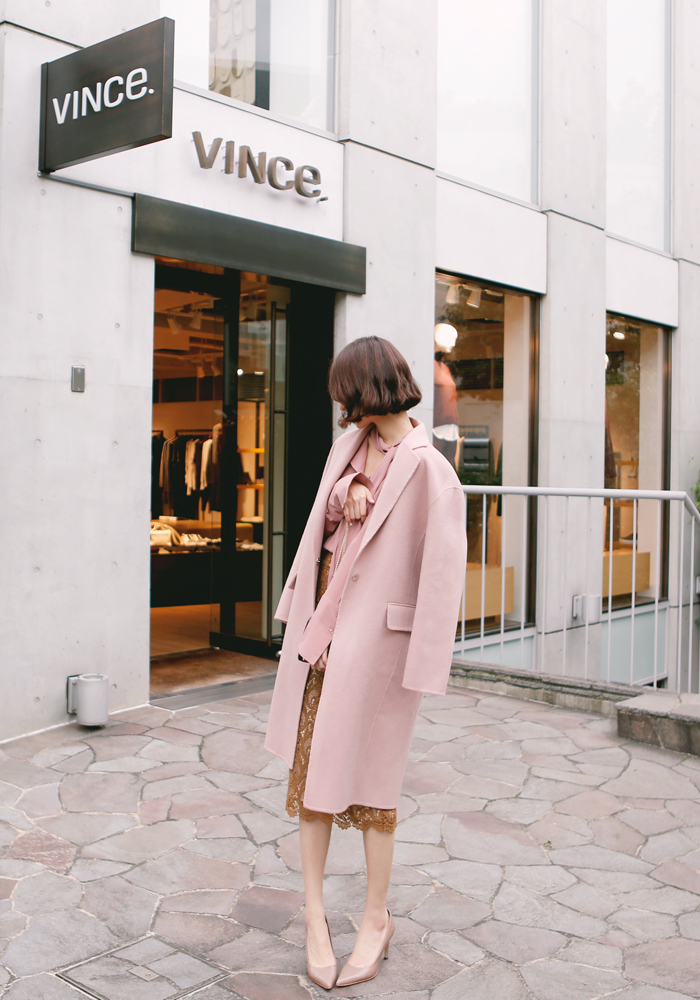 Handmade wool coat / pink