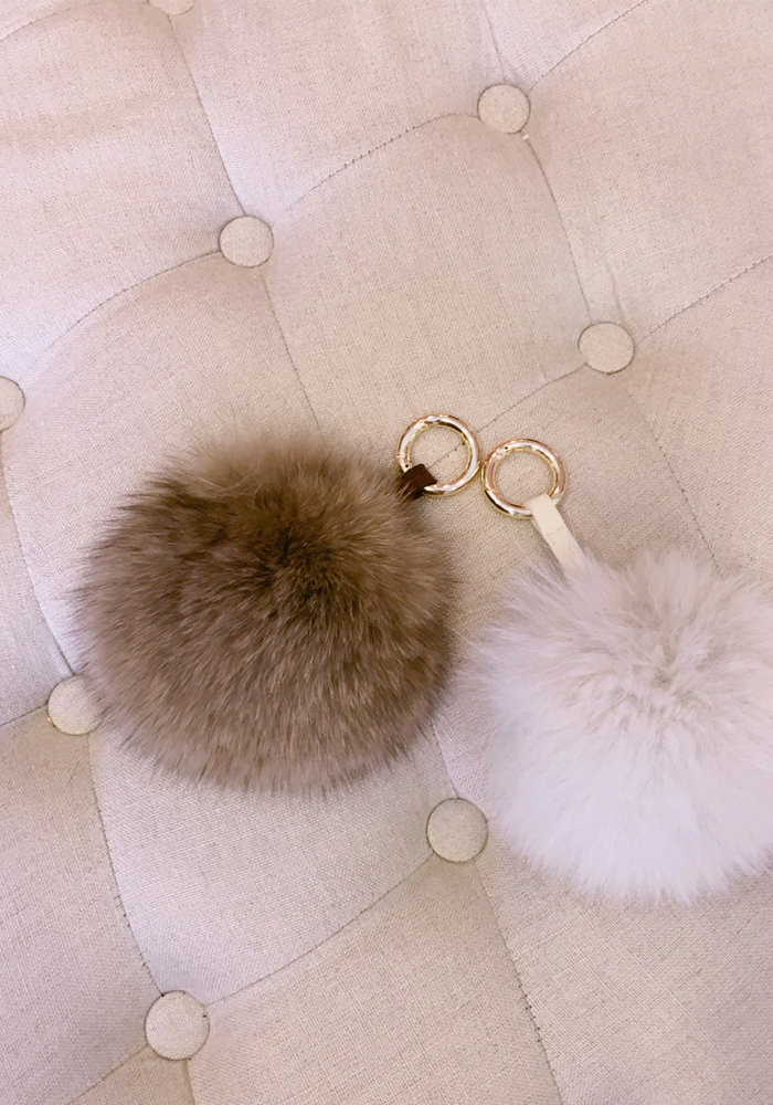 Fox fur pom pom key ring / 2color