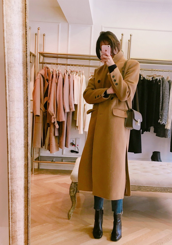 Double slit long coat / camel