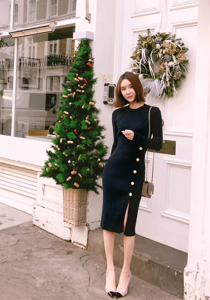 Gold button golgi onepiece dress / navy