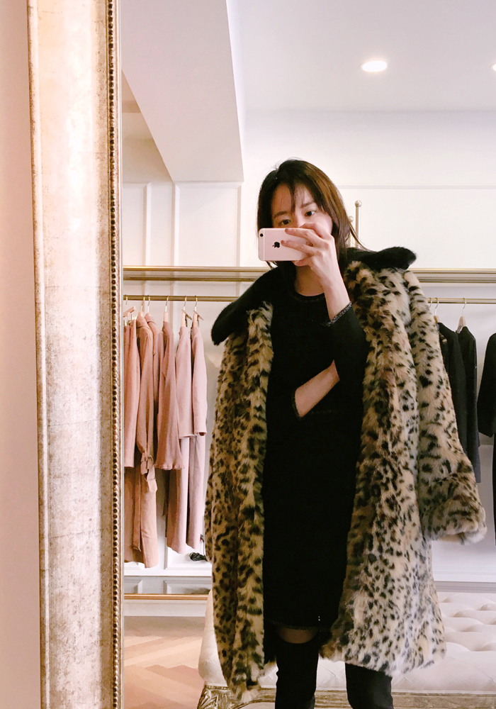Overfit leopard fur coat / black