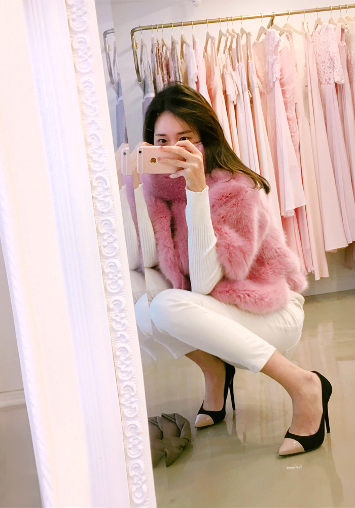 Voluming fur jacket with muffler / pink