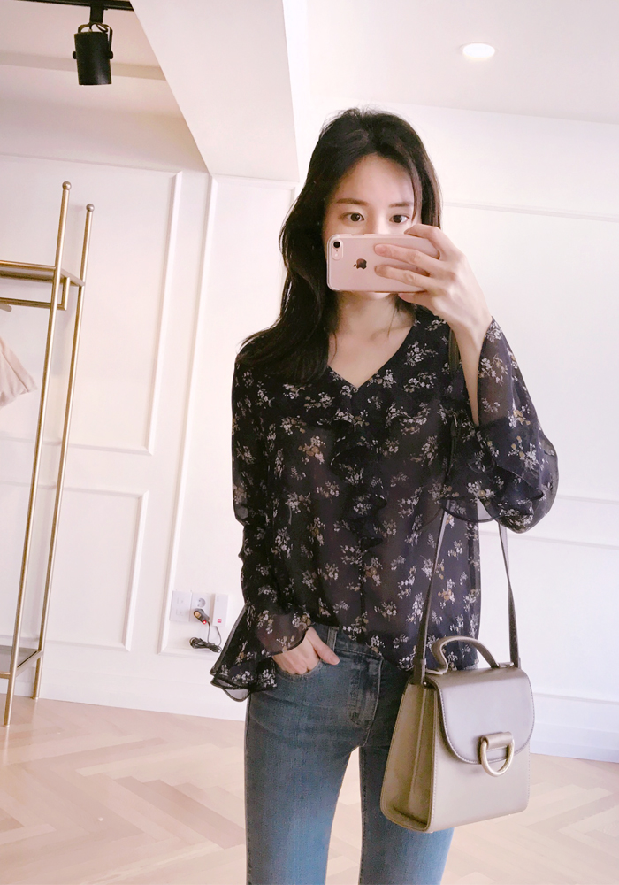 Wild flower frilled blouse / navy
