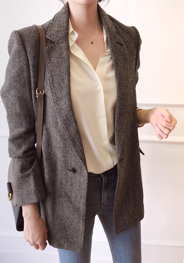 Classic fit herringbone jacket