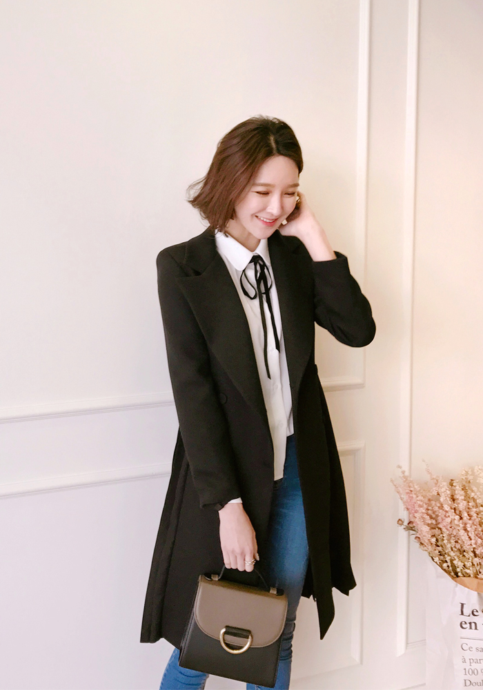 Spring back pleats long jacket / 2color