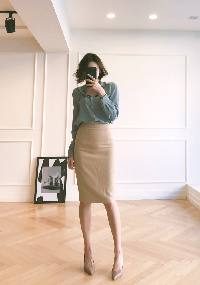 Line long skirt / beige