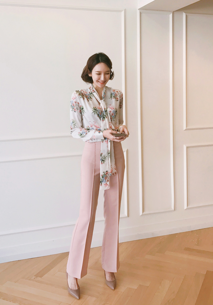 Pin tuck wide slacks / pink