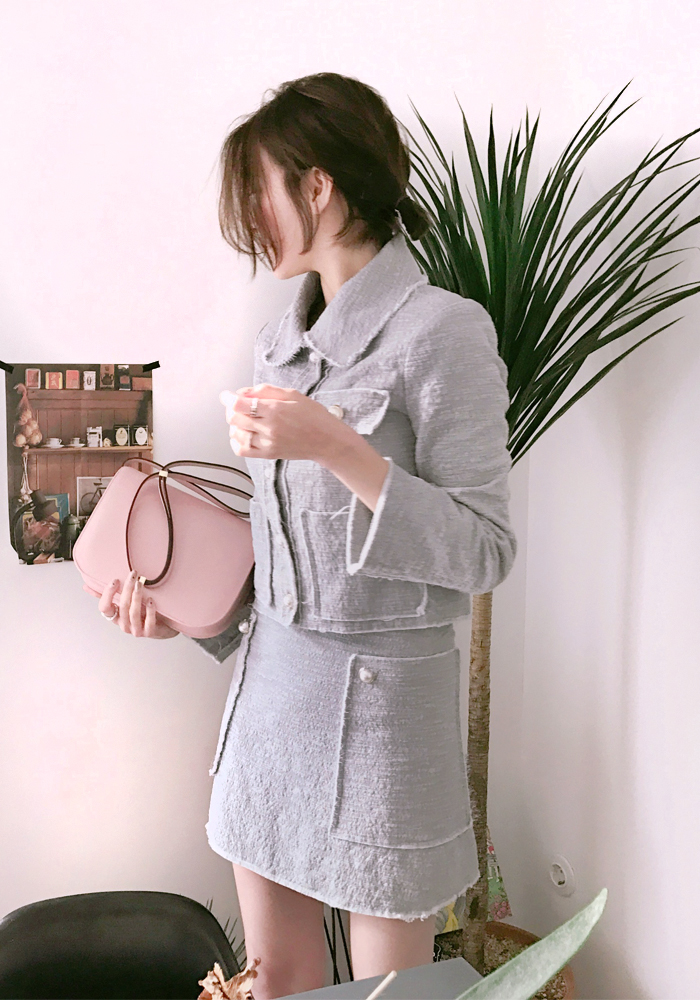 Spring tweed pearl button jacket / grey