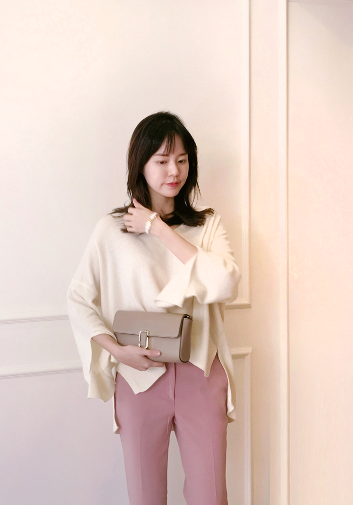 Wide fit unbalnced length knit top / ivory