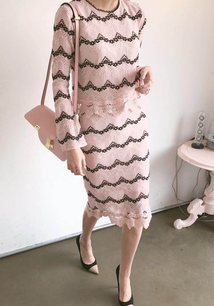 Wavy lace two piece dress / pink