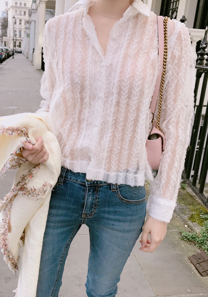 See-through lace blouse / ivory
