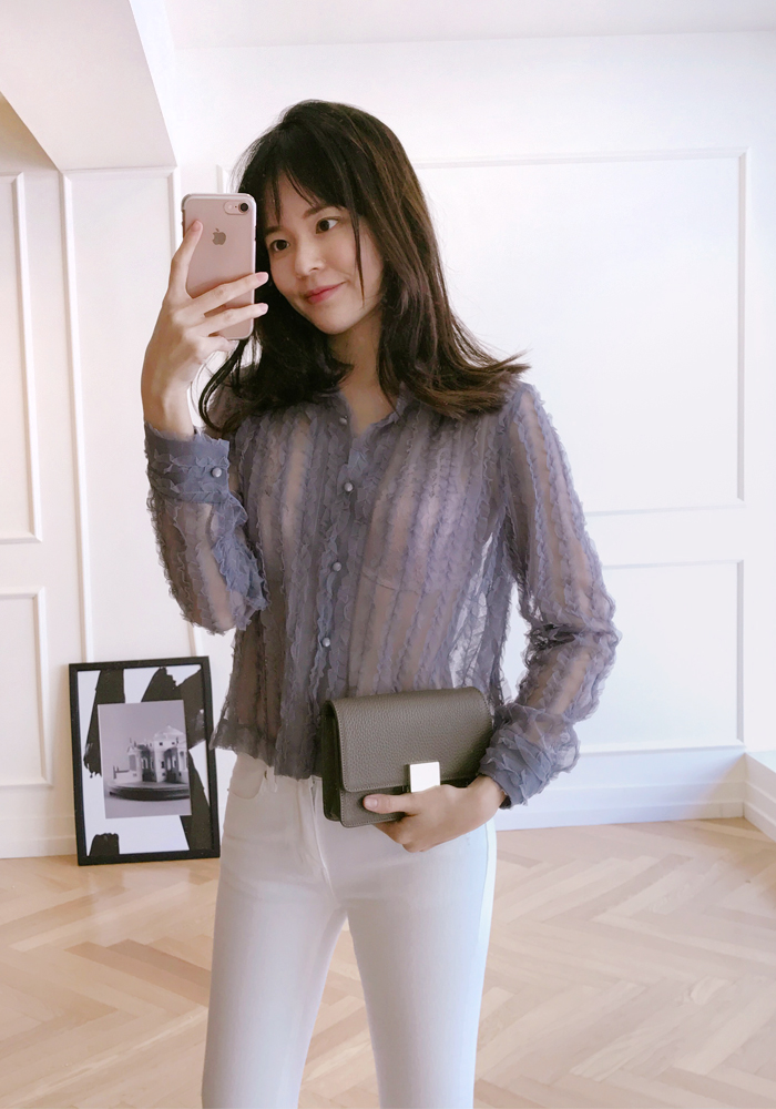 See-through lace blouse / grey