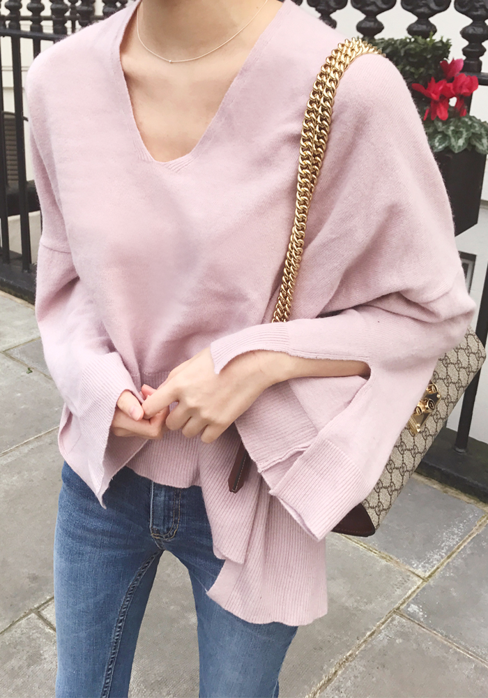 Wide fit unbalnced length knit top / pink