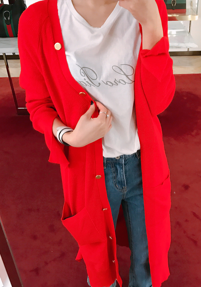 Slit cuffs long cardigans / red