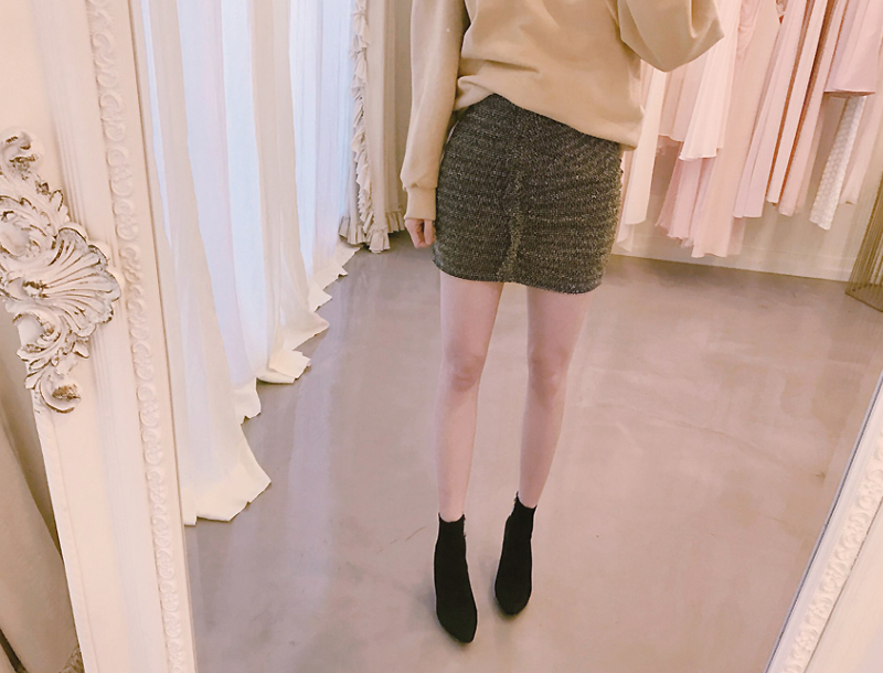 Shirring mini skirt