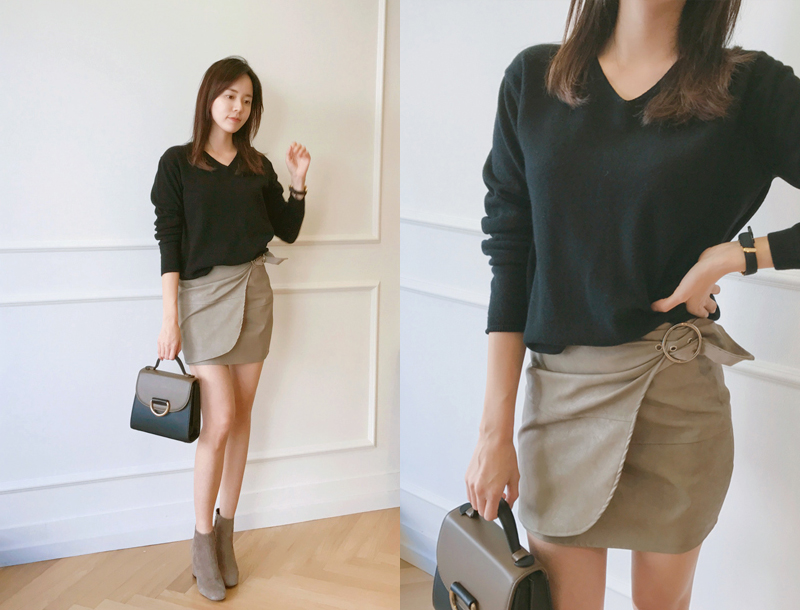 Ring tied skirts / beige