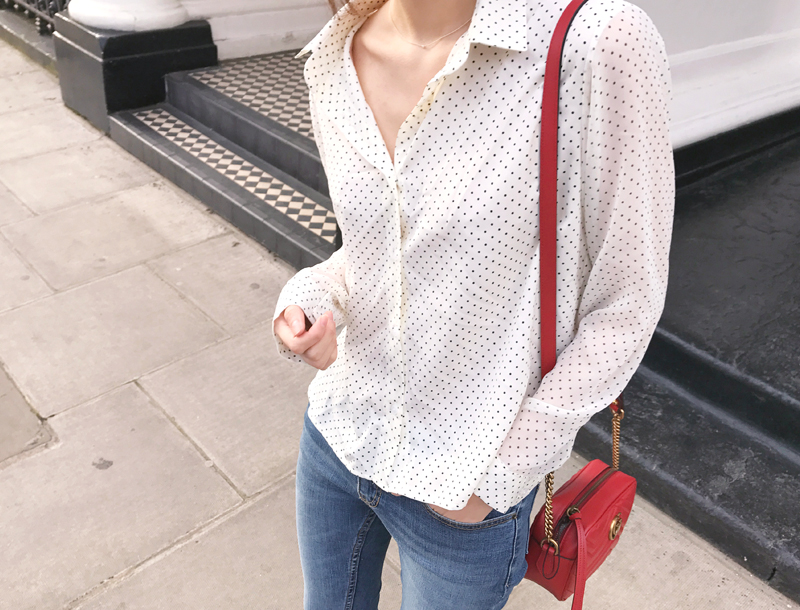 Mini dot blouse / ivory
