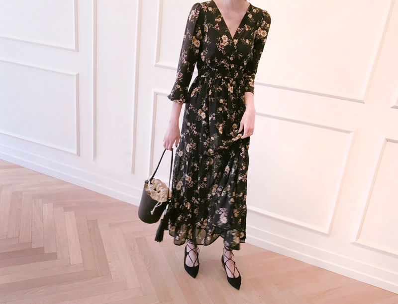 See through flower maxi dress / black