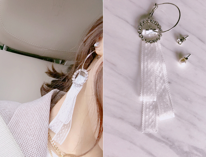 Point lace drop unbalance earring
