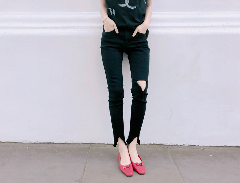 T-cutting jeans / black