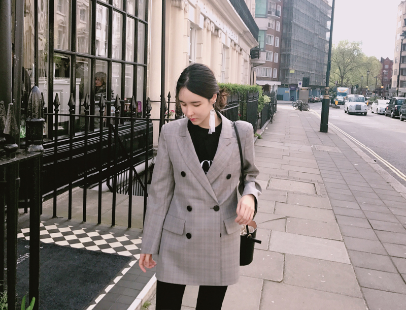 Double button check midi jacket / grey