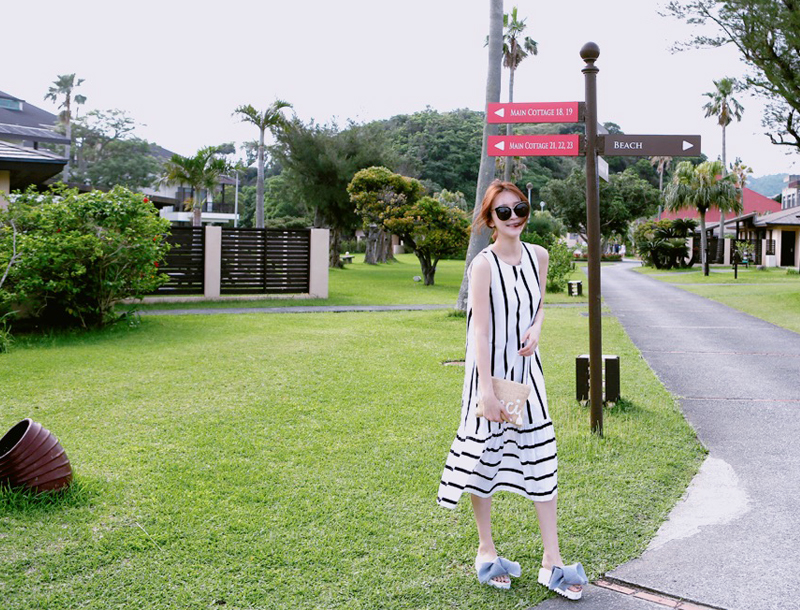 Ralph stripe maxi dress / ivory