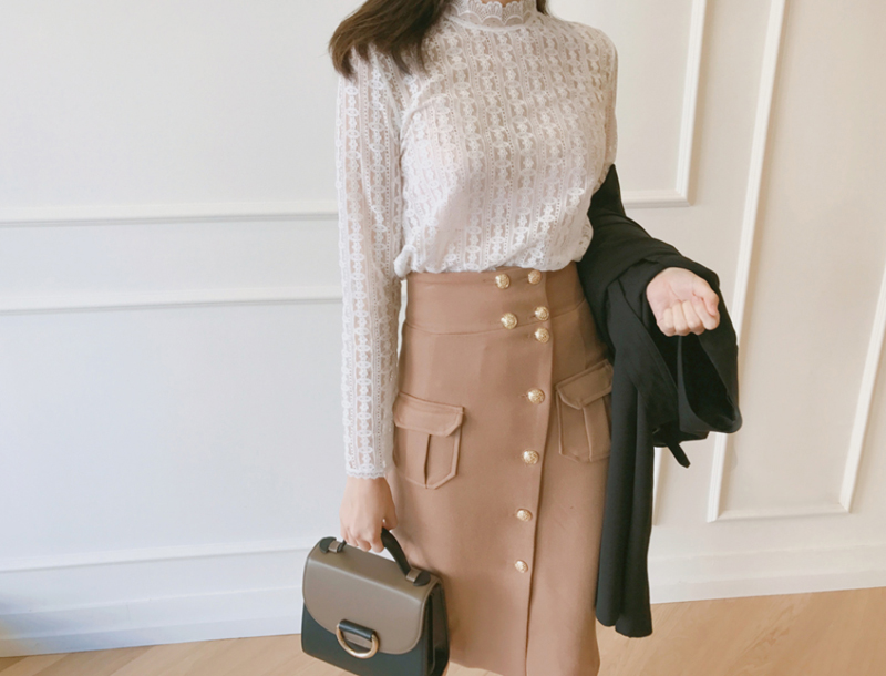 Gold button skirt / brown