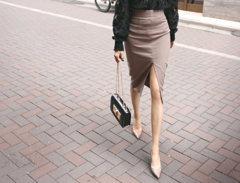 Slit pencil skirt / cocoa