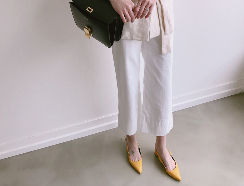 Stitched wide pants / ivory