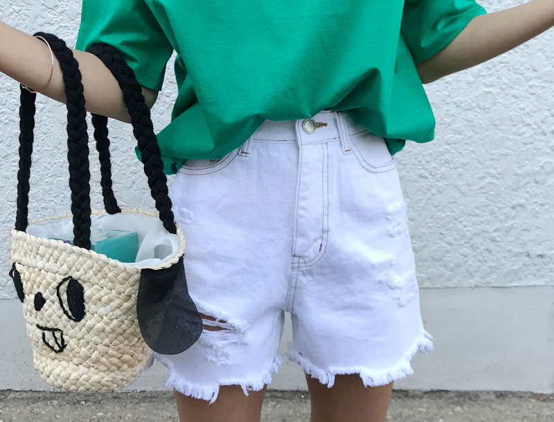 H stitch short pants / white