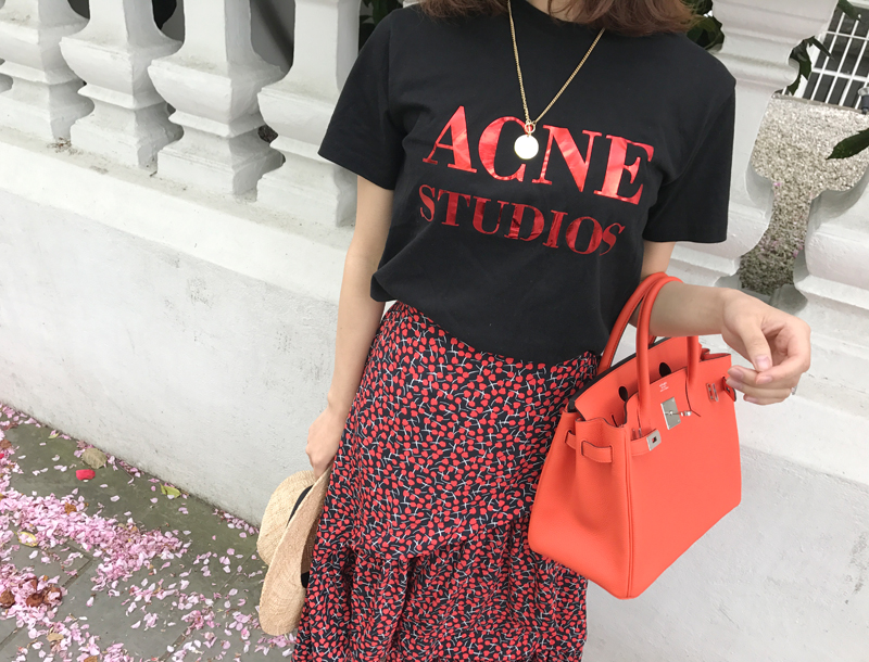 Acne metalic logo tee / black