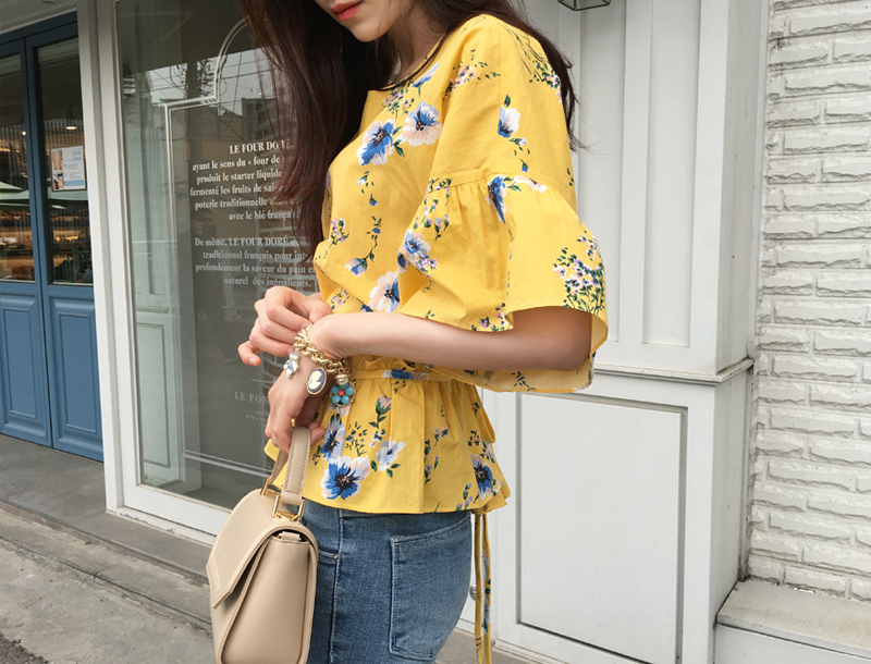 Daisy frill blouse / yellow
