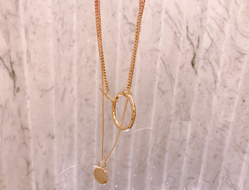 Ring & coin double necklace