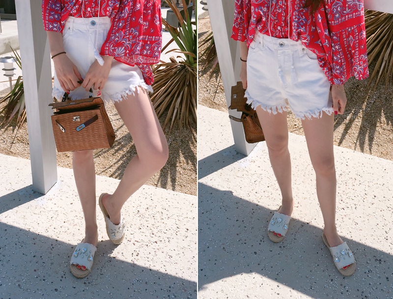 White fringed denim shorts / white