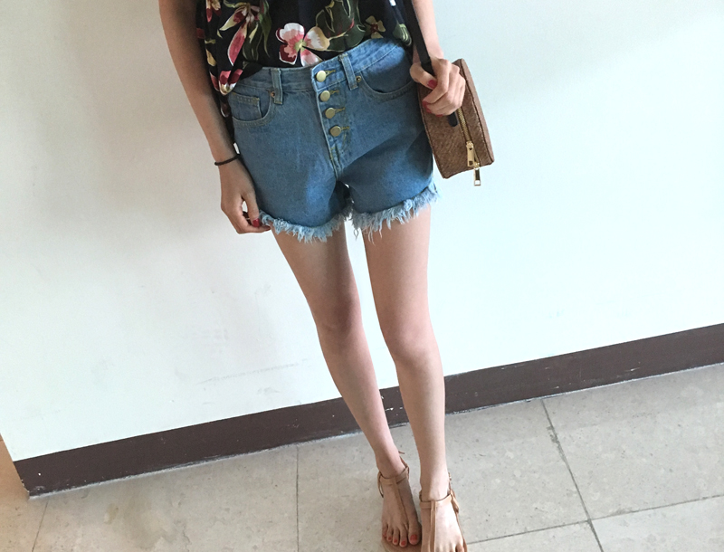 Snap high waist denim shorts pants