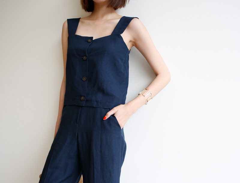 Vincent linen sleeveless top / navy