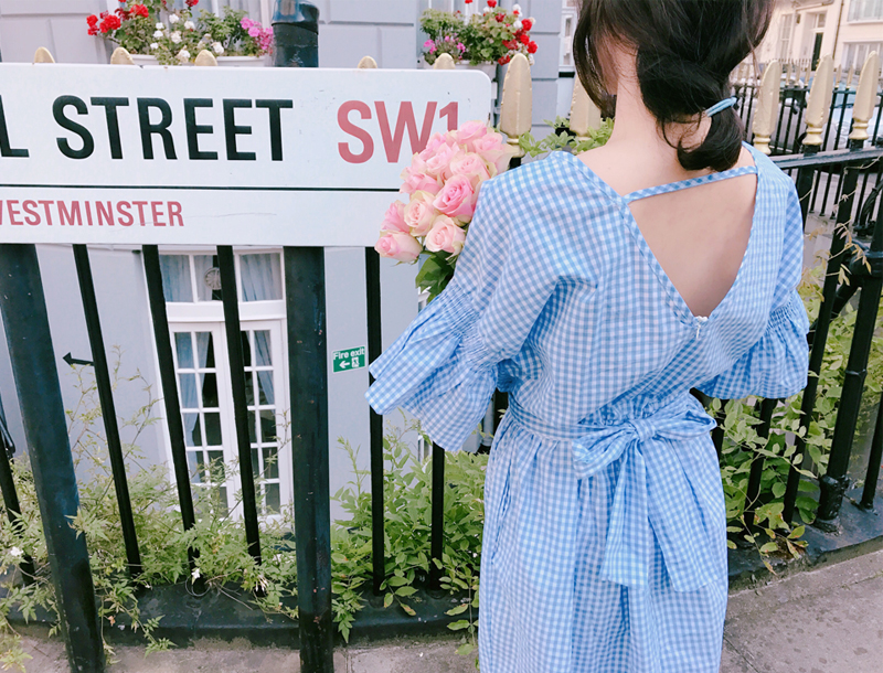 Gingham check volume maxi dress / sora