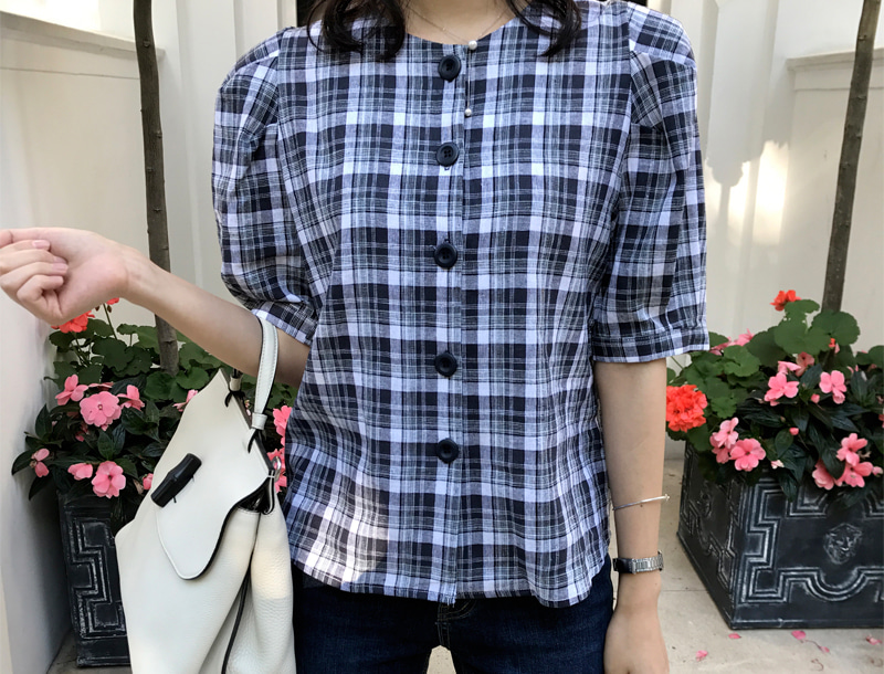 Check volume puff blouse /  2color #2