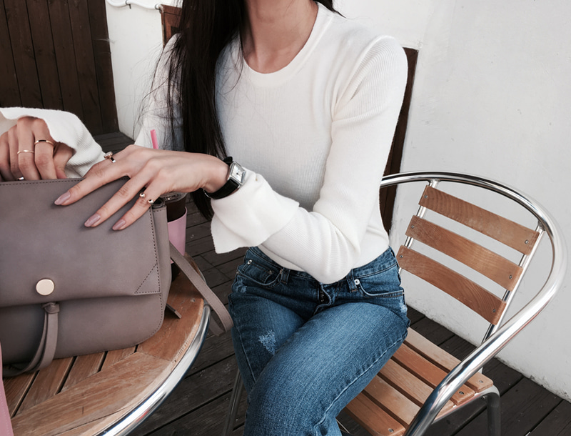 Basic Round neck knit top / 3color